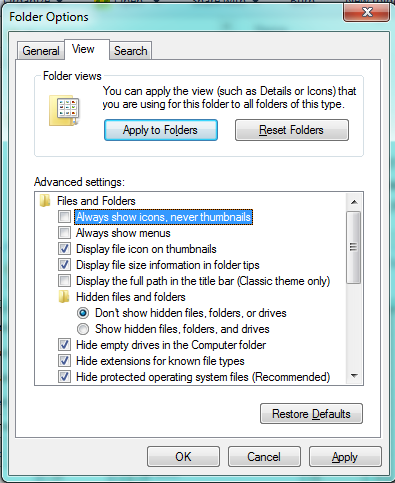 Windows explorer Folder options View always show icons unticked solve thumbnails preview problem screenshot