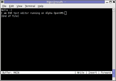 OpenVMS text editor EVE edit Screenshot from my debian Linux gnome-terminal