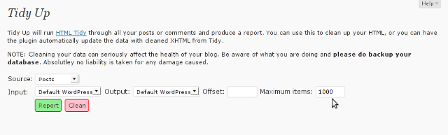 wordpress tidy up cleanse broken html