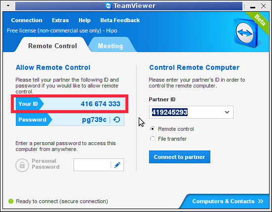 Teamviewer remote connect ID screnshot Linux
