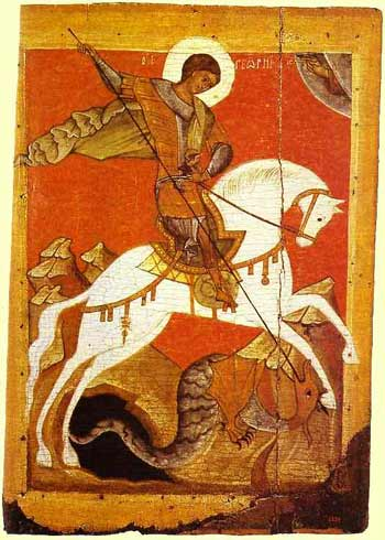 Saint Georgius the Dragon Slayer icon XII century orth icon