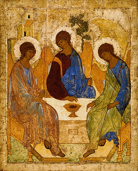 Andrey_Rublev_The_old-testament-Holy_Trinity_icon made under spiritual guidance of Saint Cyprian the Bulgarian
