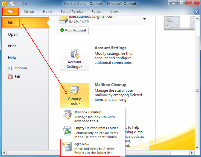 Archive-outlook-mail-in-microsoft-outlook-2010-free-space-in-your-mailbox