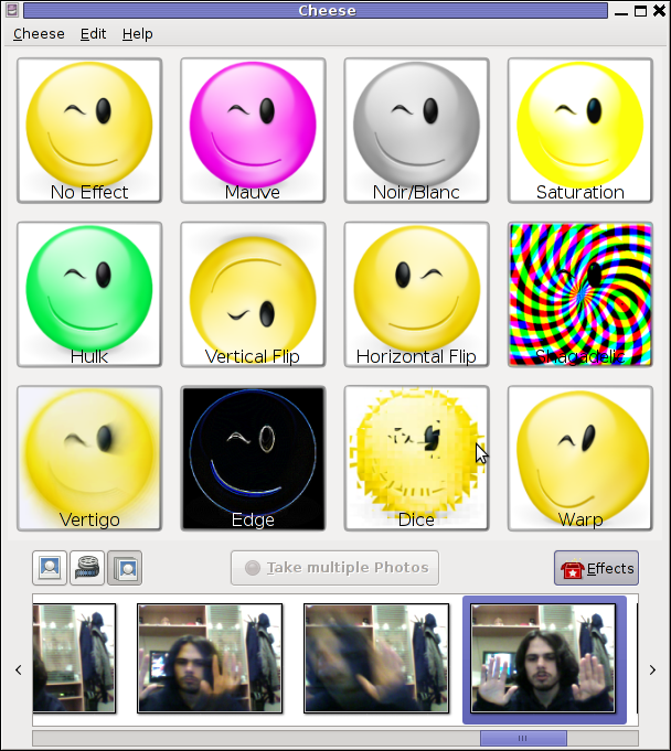 Test Video Camera on Debian Linux Cheese Effects
