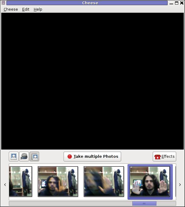 Cheese take camera testing tool Debian GNU Linux