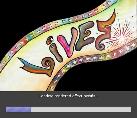 Debian GNU / Linux LiVES video editor logo bootscreen shot