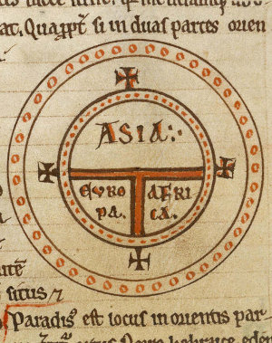 Diagrammatic world map 12th century as described by st Isidore of Seville the world is round!!!!