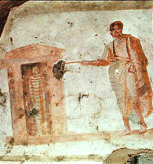 Earliest_known_Image-of-the-Resurrection-of-Lazarus_catacomb_of_Giordani