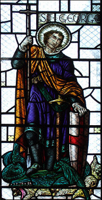 England South Darley St George depiction on church window