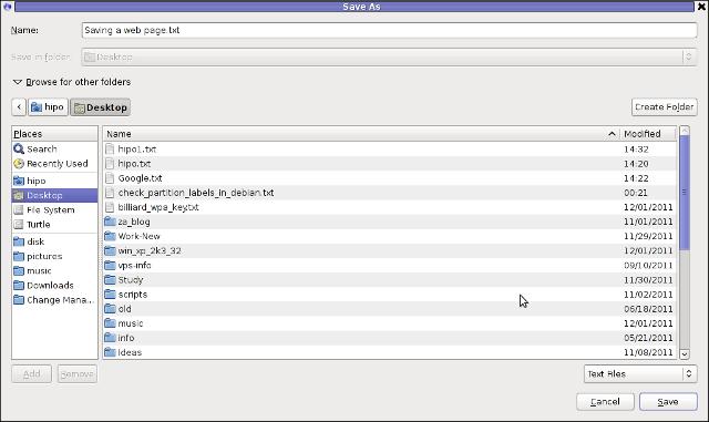 Firefox iceWeasel Opera etc. save html webpage as plain text on GNU / Linux, FreeBSD