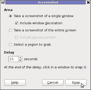 GIMP Screenshot 15 seconds delay GIMP window screenshot