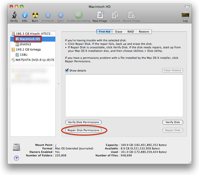 Mac OS X 10.8.6 Disk Utility Repair Disk Permissions screenshot