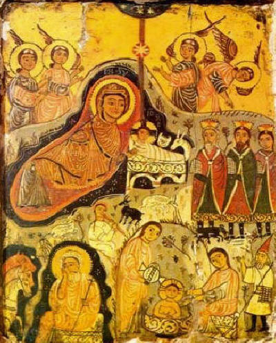 Ancient icon of Nativity of Christ Mount Sinai 7-th 9-th-century Rojdestvo Hristovo pravoslavna ikona - celebrating feast twice double spreading the good news of Christ's birth