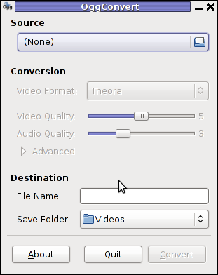 OggConvert GUI Program to convert to OGG og OGV Theora on GNU / Linux and FreeBSD