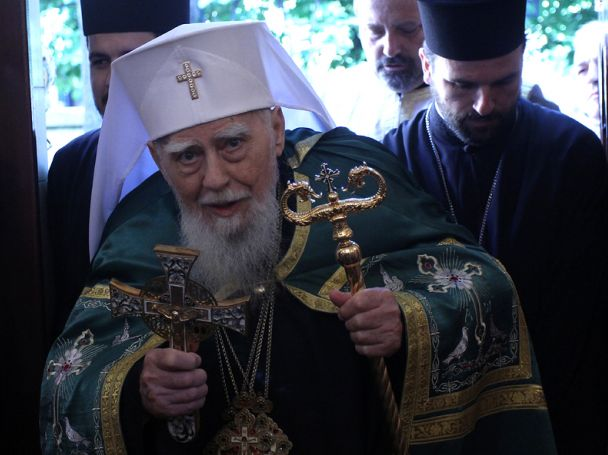 Patriarch Maxim blessing with Crufixi Cross and Sceptre