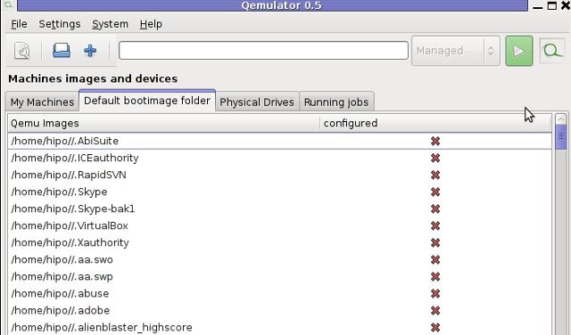 Qemulator 0.5 - Qemu GUI Screenshot Debian Squeeze