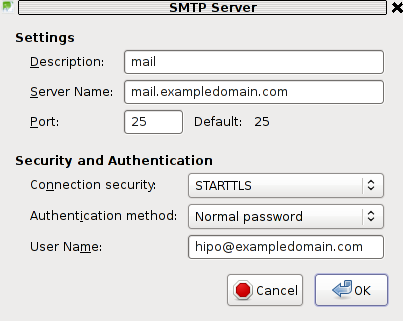 SMTP Server Outgoing Server incorrect settings STARTTLS reason / problem