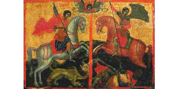 Saint-Demetrius-and-Saint-George-icon-St-George-killing-Dragon-saint-Dimitar-killing-a-man