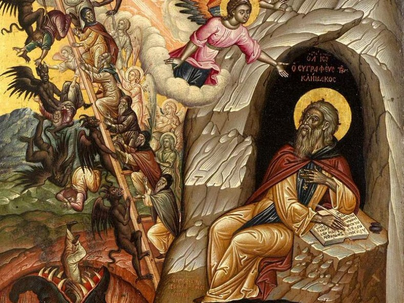Saint-John-The-Scholastic-Lestvichnik-writting-the-Ladder-guide-book-for-ascending-spiritually-to-heaven