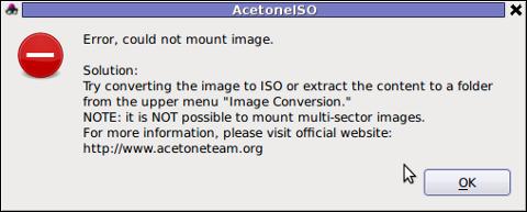 AcetoneISO can't open MDF error message Debian GNU / Linux