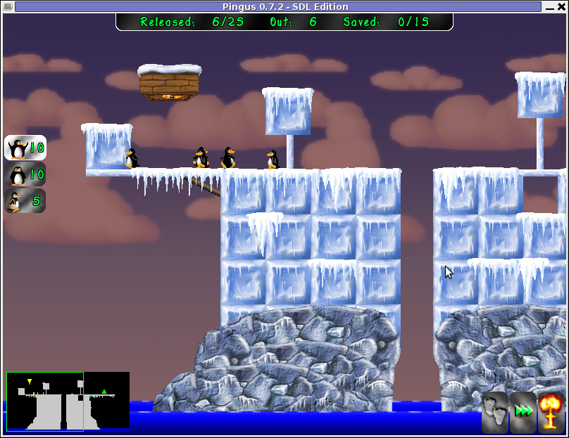 Screenshot Pingus, Lemmings game clone for Linux and FreeBSD