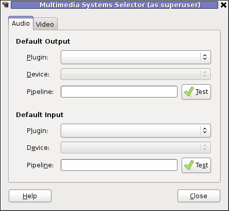 Screenshot gstreamer Multimedia System Selector