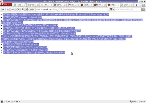 Screenshot show HTTP headers.php script Opera Debian Linux