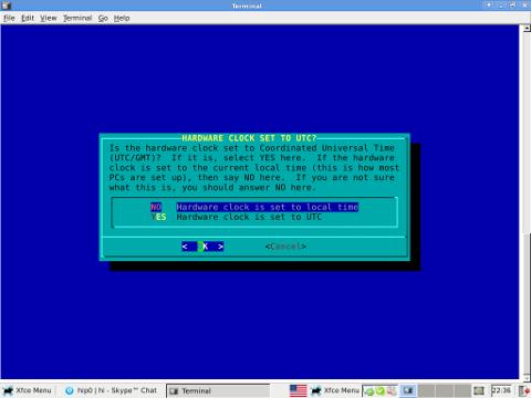 Slackware Linux timeconfig set to UTC ncurses dialog clock setting