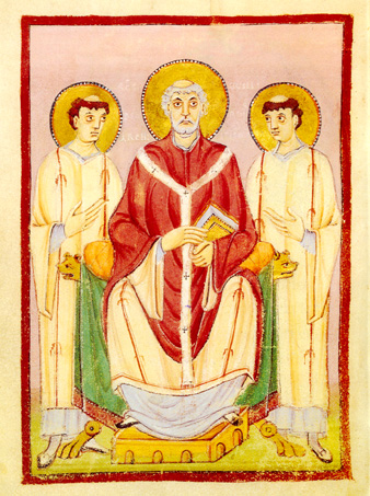 Saint Willibrord apostle of Frisians Bishop of Utrecht with his pupils