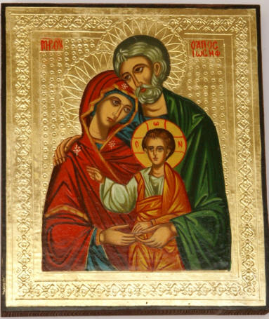 The Holy Family Greek Orthodox Christian Icon - The Holy Theotokos with Joseph and the Lord Saviour Jesus Christ
