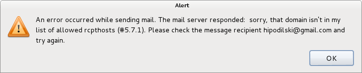 Thunderbird an error occured while sending mail sorry that domain isnt in my list of allowed rcpthosts (#5.7.1)