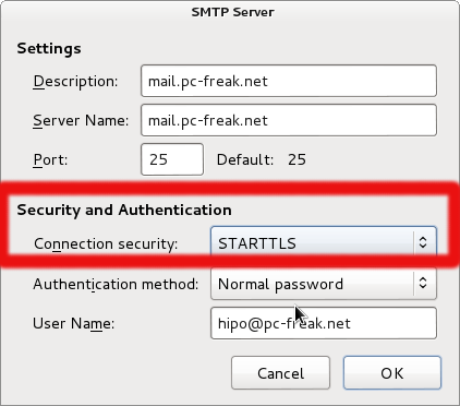 Thunderbird with settings causing sorry that domain isnt in my list of allowed rcpthosts connection security STARTTLS