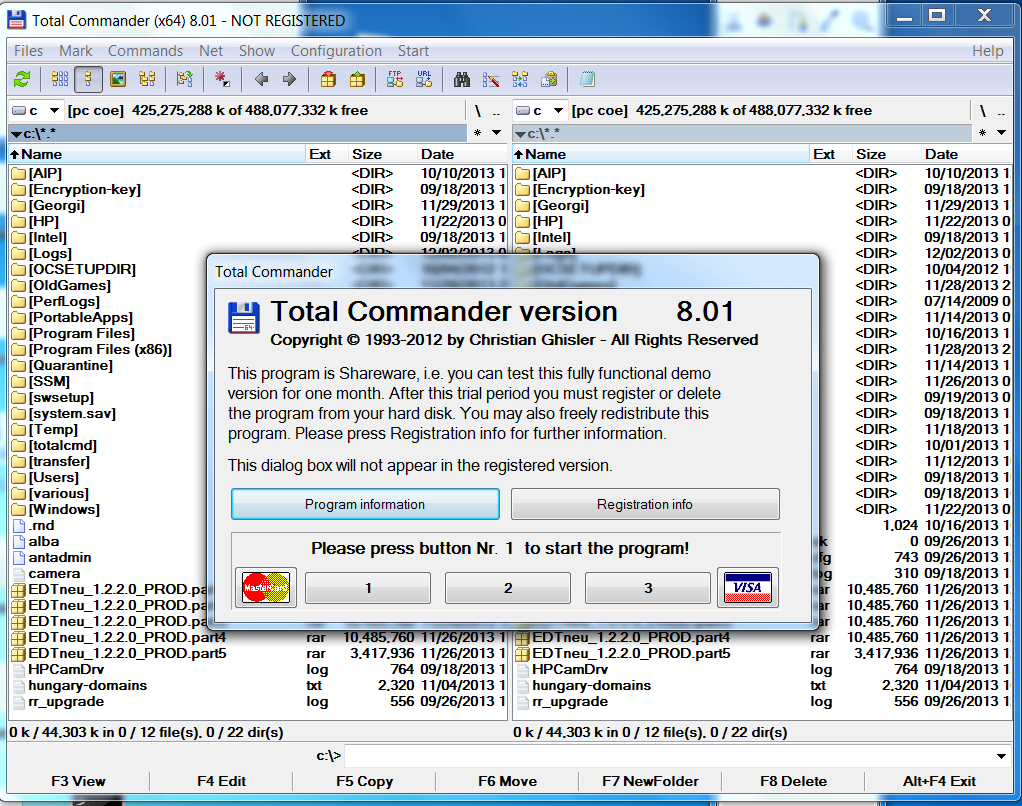 Total Commander windows internet explorer hackers alternative not registered screenshot