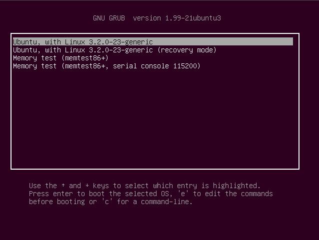 Ubuntu Linux version 12.04 GRUB boot textscreen picture