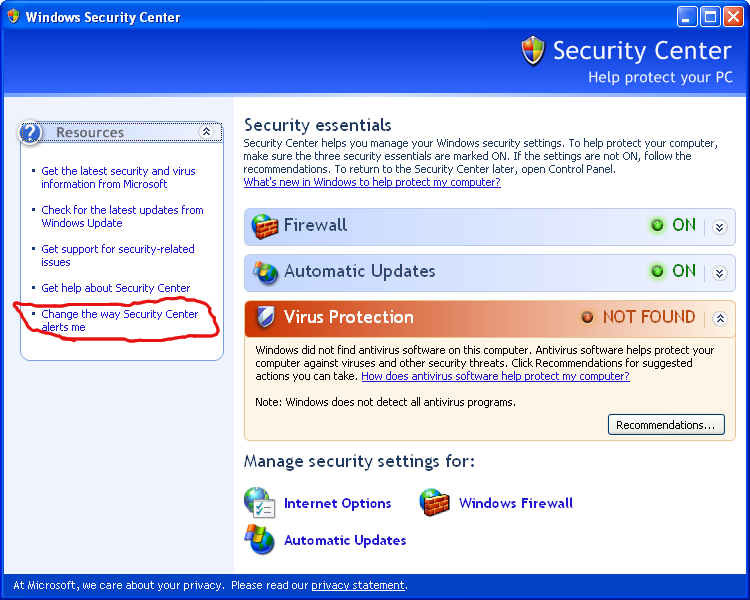 Microsoft Windows XP SP3 Security Center - Change the way Security Center alerts me