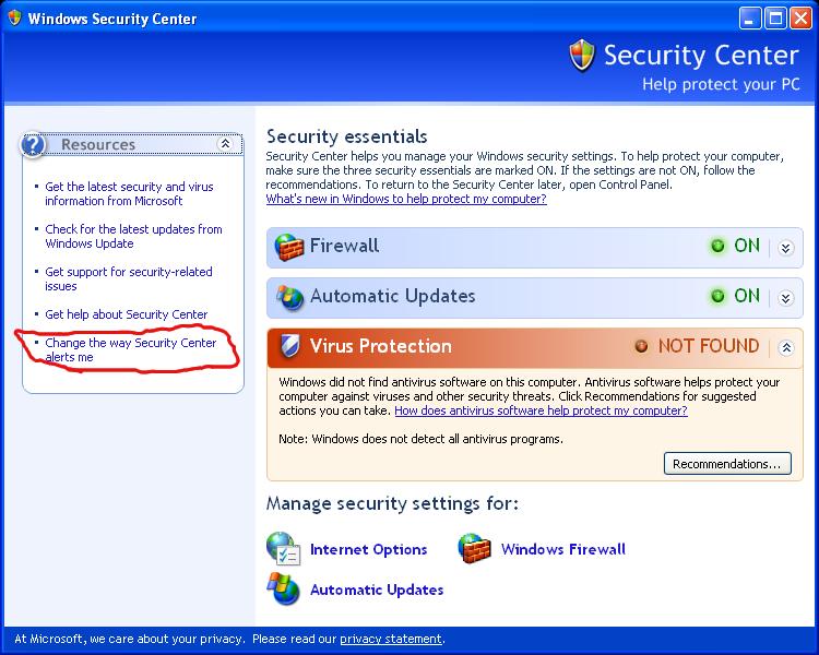Microsoft Windows XP SP3 Security Center - Change the way Security Center alerts me