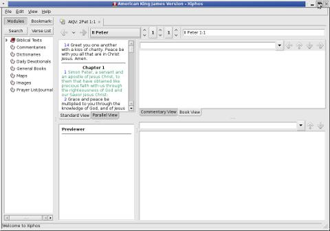 Xiphos American King james Holy_Bible on Debian Ubuntu GNU Linux screenshot