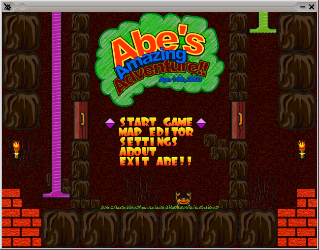 Abe's Amazing Adventure Game menu screenshot, A Dangerous Dave like Linux arcade game