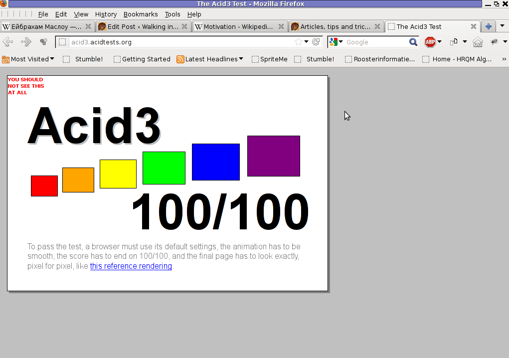Acid3 browser compitability Test Firefox 9.0.1