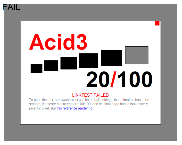 Acid3 browser test fail