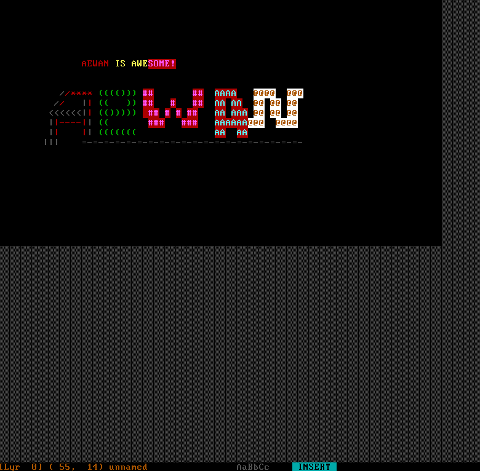 Aewan ascii art produced on my Debian GNU / Linux host