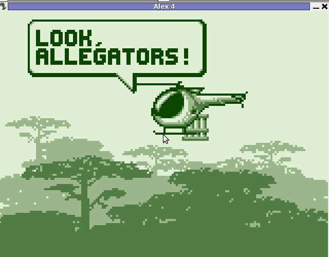 Alex the Alligator evil human kidnapper poachers helicopter, GNU / Linux