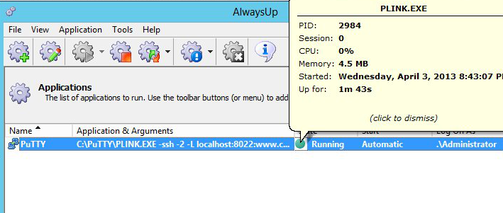 alwaysup-putty-running-screenshot