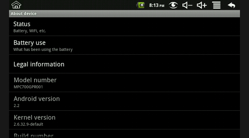 Android 2.2 Polaroid Settings About Device Screenshot pic