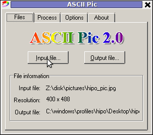 ASCII Pic 2.0 JPG PNG GIF to ASCII text MS Windows Convertor screenshot