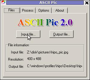 ASCII Pic 2.0 JPG PNG GIF to ASCII text MS Windows Convertor screenshot