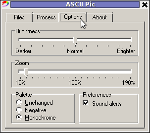 ASCII Pic 2.0 Windows picture to ASCII Program options screenshot