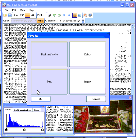 ascii2gen penguins converted images to plain text inverted with capital letters for picture