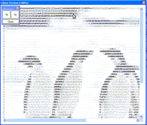 ascii2gen generate images to ascii in colors Microsoft Windows shot