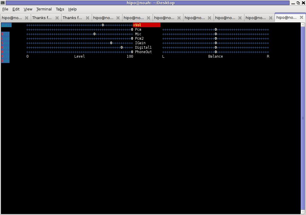 Aumix Debian GNU Linux Squeeze Screenshot